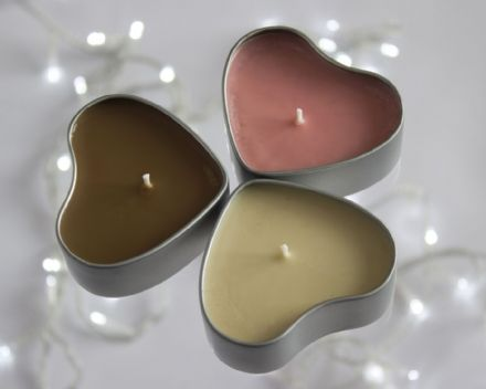 Christmas Candles in a Heart Tin